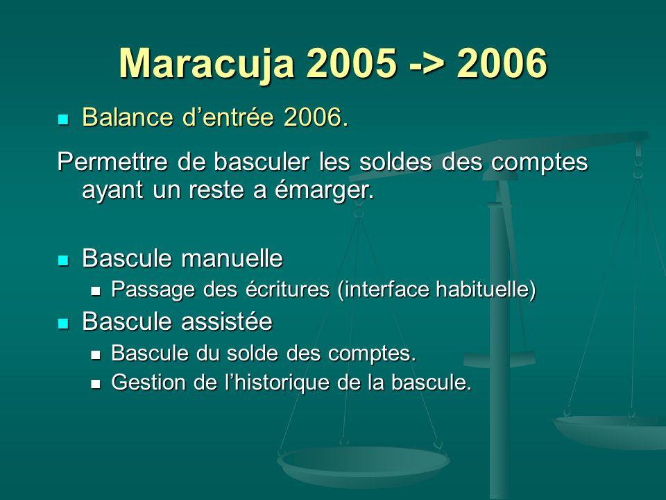 Maracuja 2005 -> 2006 Balance dentrée 2006. Balance dentrée 2006. Permettre de basculer les soldes des comptes ayant un reste a émarger. Bascule manue