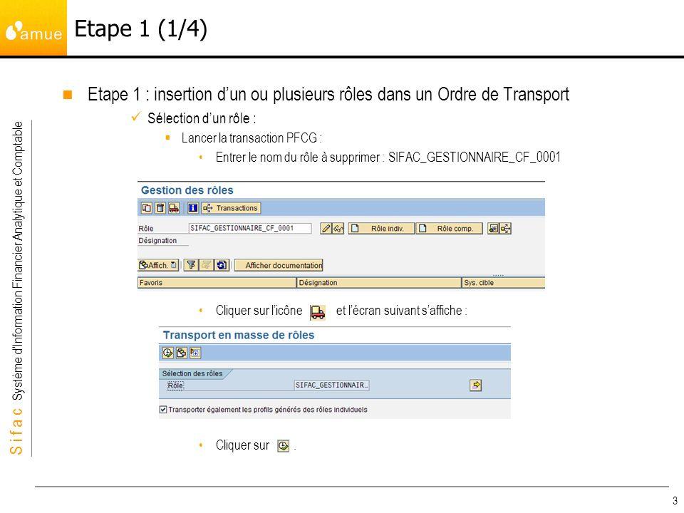 S i f a c Système dInformation Financier Analytique et Comptable 3 Etape 1 : insertion dun ou plusieurs rôles dans un Ordre de Transport Sélection dun rôle : Lancer la transaction PFCG : Entrer le nom du rôle à supprimer : SIFAC_GESTIONNAIRE_CF_0001 Cliquer sur licône et lécran suivant saffiche : Cliquer sur.