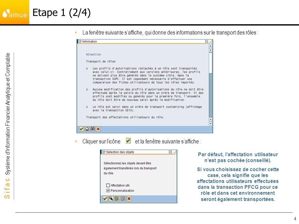 S i f a c Système dInformation Financier Analytique et Comptable 4 La fenêtre suivante saffiche, qui donne des informations sur le transport des rôles : Cliquer sur licône et la fenêtre suivante saffiche : Etape 1 (2/4) Par défaut, laffectation utilisateur nest pas cochée (conseillé).