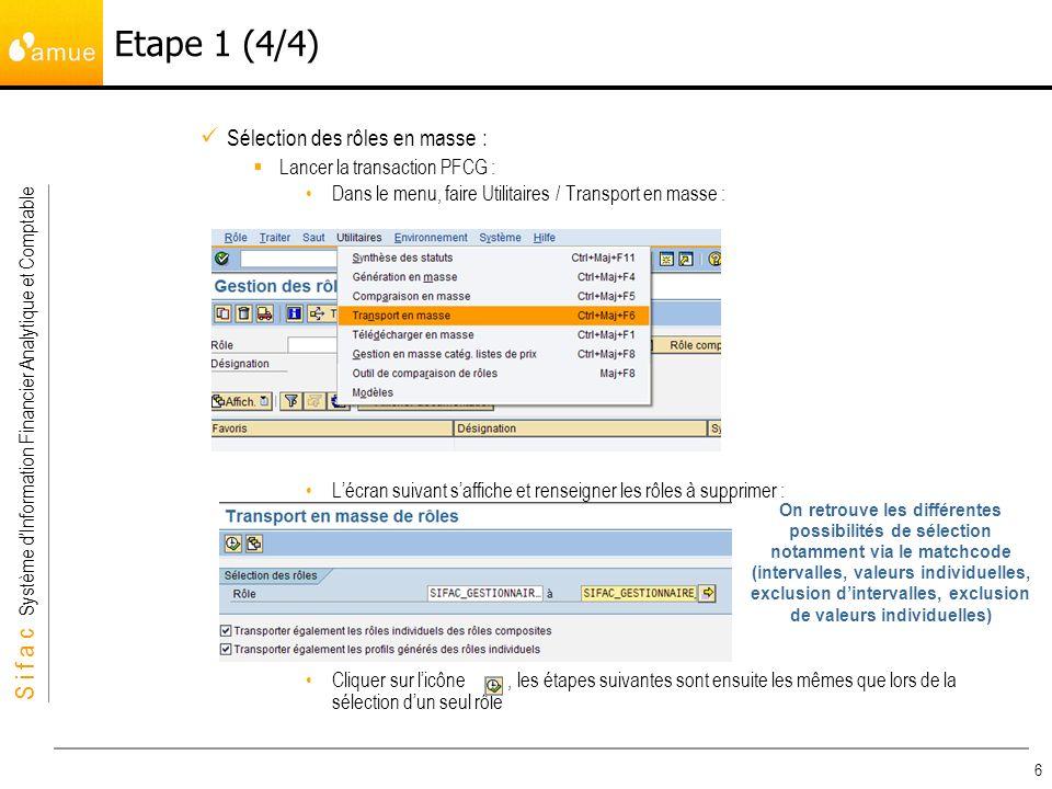 S i f a c Système dInformation Financier Analytique et Comptable 6 Sélection des rôles en masse : Lancer la transaction PFCG : Dans le menu, faire Utilitaires / Transport en masse : Lécran suivant saffiche et renseigner les rôles à supprimer : Cliquer sur licône, les étapes suivantes sont ensuite les mêmes que lors de la sélection dun seul rôle Etape 1 (4/4) On retrouve les différentes possibilités de sélection notamment via le matchcode (intervalles, valeurs individuelles, exclusion dintervalles, exclusion de valeurs individuelles)