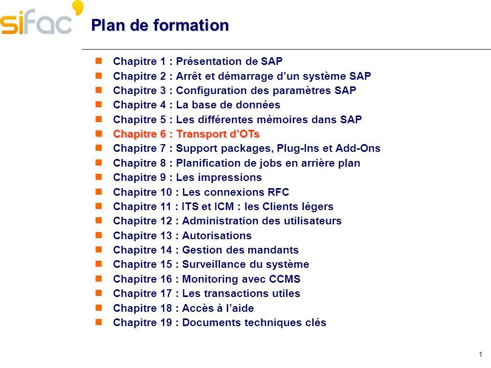 1 Plan de formation Chapitre 1 : Présentation de SAP Chapitre 2 : Arrêt et démarrage dun système SAP Chapitre 3 : Configuration des paramètres SAP Cha