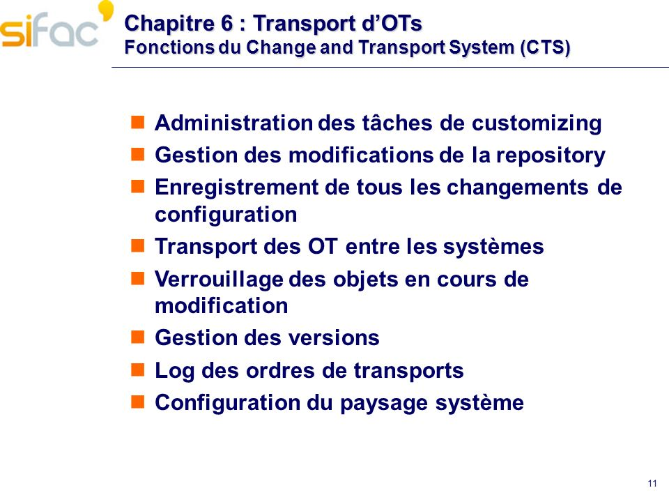 Chapitre 6 : Transport dOTs Fonctions du Change and Transport System (CTS) Administration des tâches de customizing Gestion des modifications de la re