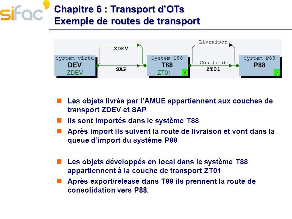 Chapitre 6 : Transport dOTs Exemple de routes de transport Les objets livrés par lAMUE appartiennent aux couches de transport ZDEV et SAP Ils sont imp