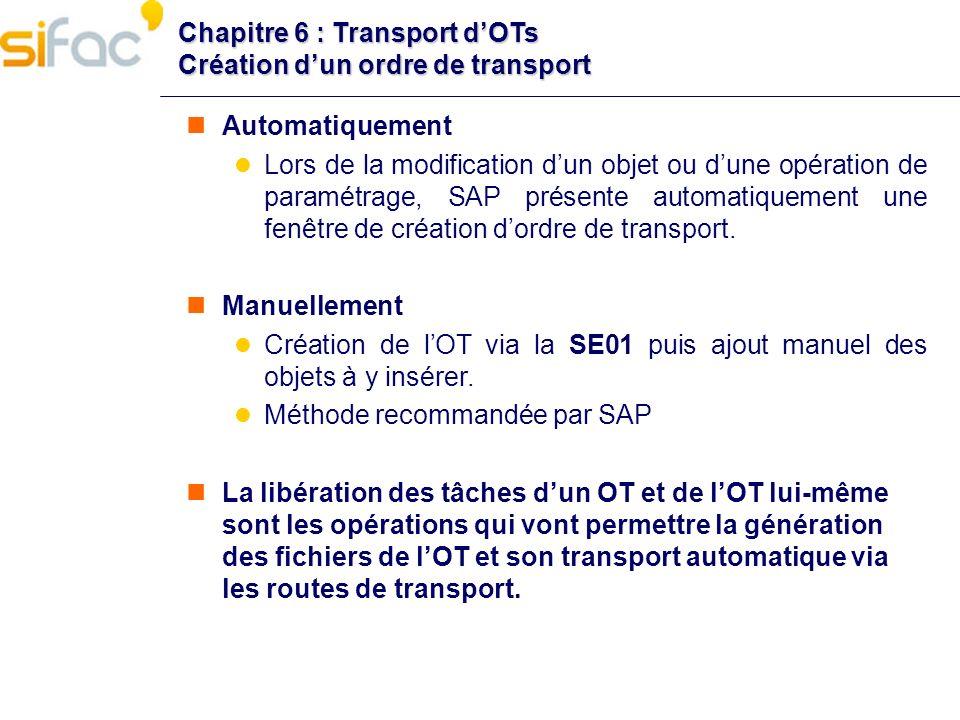 Chapitre 6 : Transport dOTs Création dun ordre de transport Automatiquement Lors de la modification dun objet ou dune opération de paramétrage, SAP pr