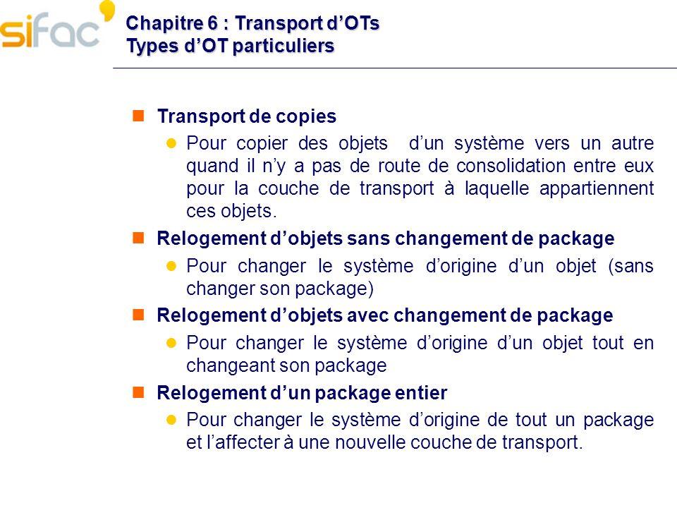 Chapitre 6 : Transport dOTs Types dOT particuliers Transport de copies Pour copier des objets dun système vers un autre quand il ny a pas de route de