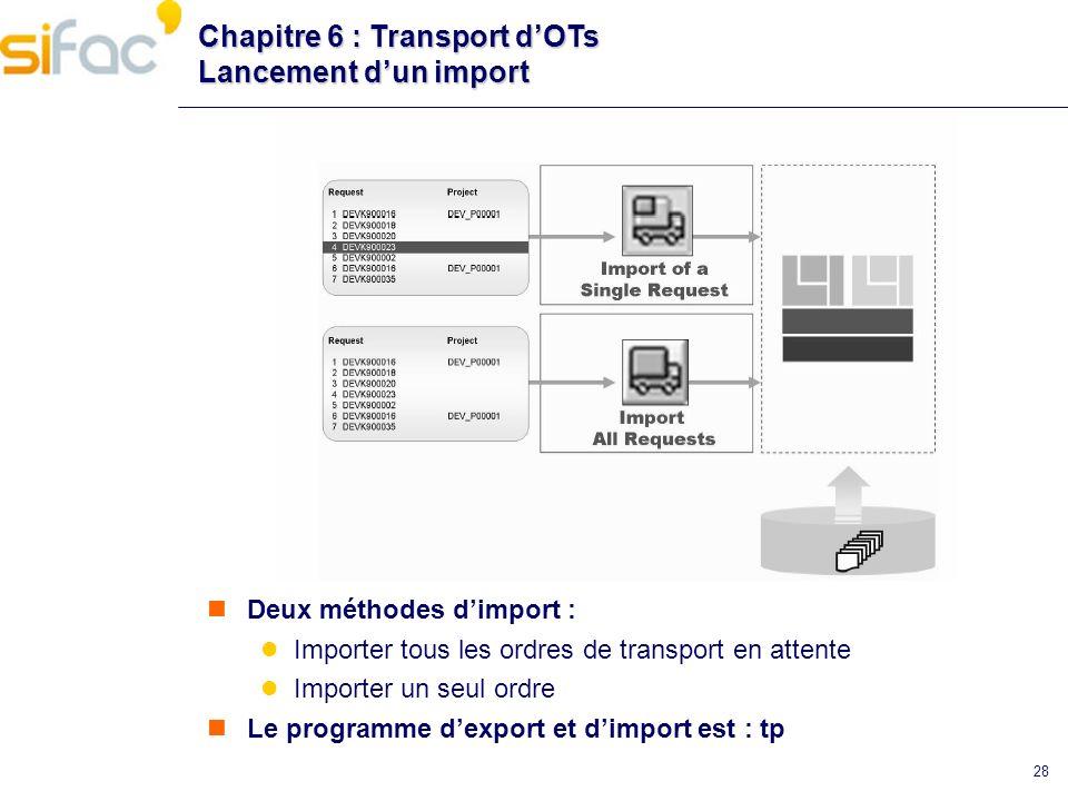 28 Chapitre 6 : Transport dOTs Lancement dun import Deux méthodes dimport : Importer tous les ordres de transport en attente Importer un seul ordre Le