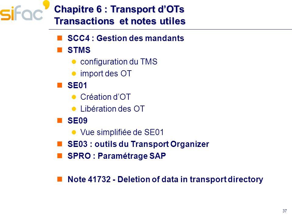 Chapitre 6 : Transport dOTs Transactions et notes utiles SCC4 : Gestion des mandants STMS configuration du TMS import des OT SE01 Création dOT Libérat