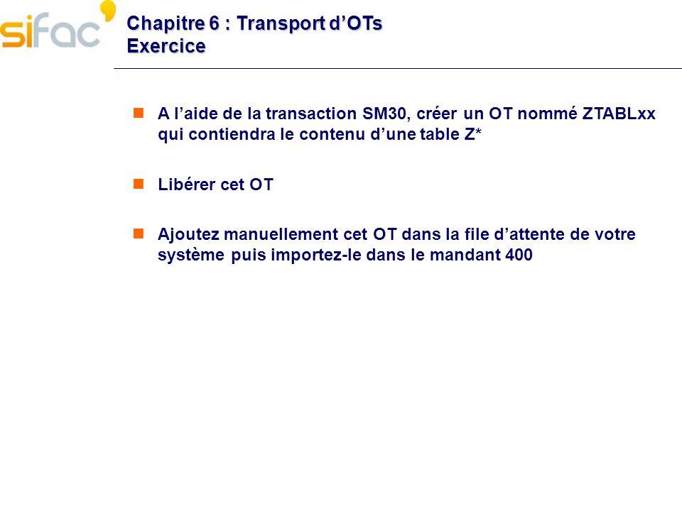 Chapitre 6 : Transport dOTs Exercice A laide de la transaction SM30, créer un OT nommé ZTABLxx qui contiendra le contenu dune table Z* Libérer cet OT