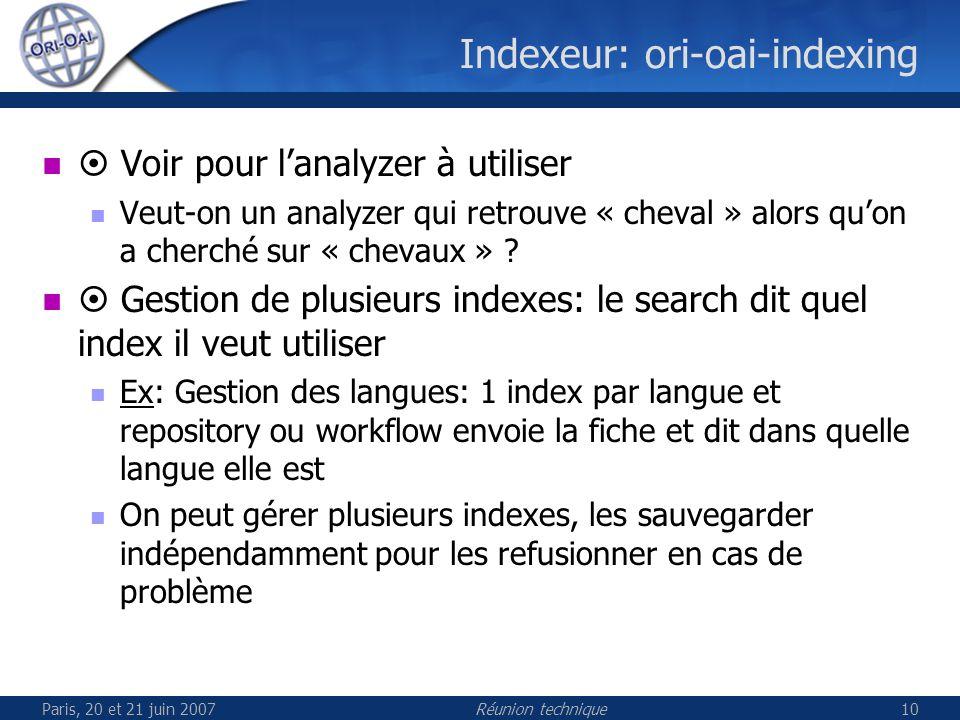 Paris, 20 et 21 juin 2007Réunion technique10 Indexeur: ori-oai-indexing Voir pour lanalyzer à utiliser Veut-on un analyzer qui retrouve « cheval » alors quon a cherché sur « chevaux » .