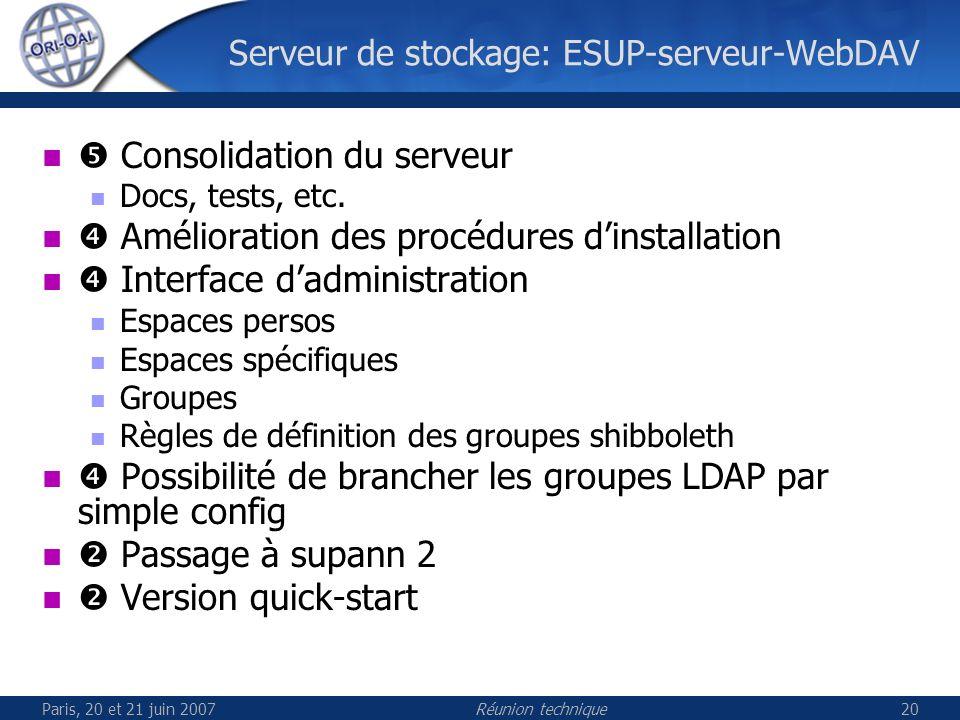 Paris, 20 et 21 juin 2007Réunion technique20 Serveur de stockage: ESUP-serveur-WebDAV Consolidation du serveur Docs, tests, etc.