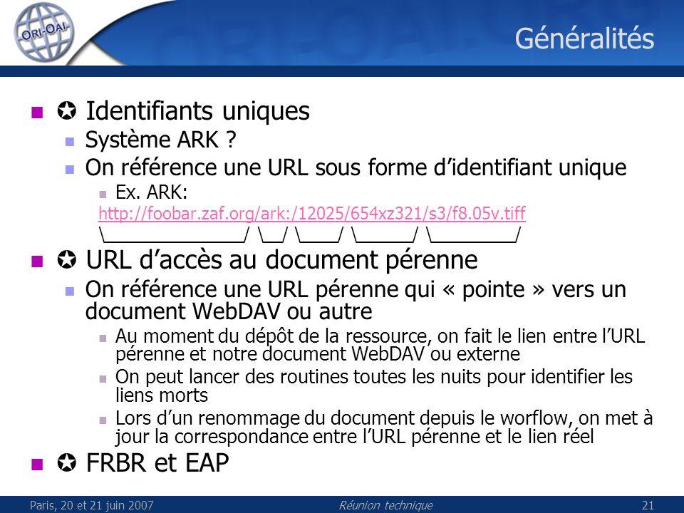 Paris, 20 et 21 juin 2007Réunion technique21 Généralités Identifiants uniques Système ARK .