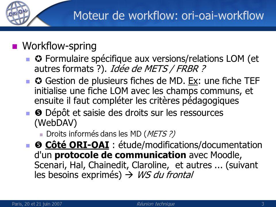 Paris, 20 et 21 juin 2007Réunion technique3 Moteur de workflow: ori-oai-workflow Workflow-spring Formulaire spécifique aux versions/relations LOM (et autres formats ?).