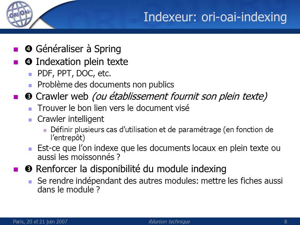 Paris, 20 et 21 juin 2007Réunion technique8 Indexeur: ori-oai-indexing Généraliser à Spring Indexation plein texte PDF, PPT, DOC, etc.