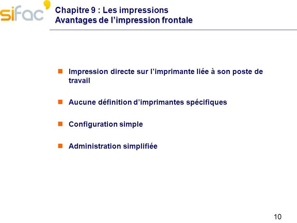 10 Avantages de limpression frontale Chapitre 9 : Les impressions Avantages de limpression frontale Impression directe sur limprimante liée à son post