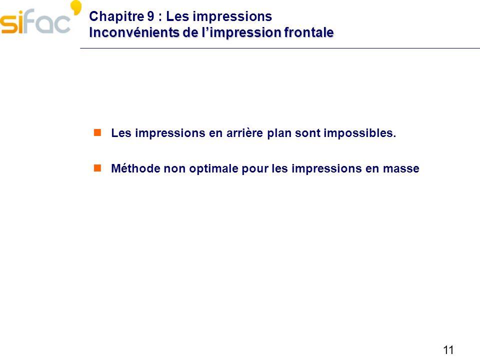 11 Inconvénients de limpression frontale Chapitre 9 : Les impressions Inconvénients de limpression frontale Les impressions en arrière plan sont impos