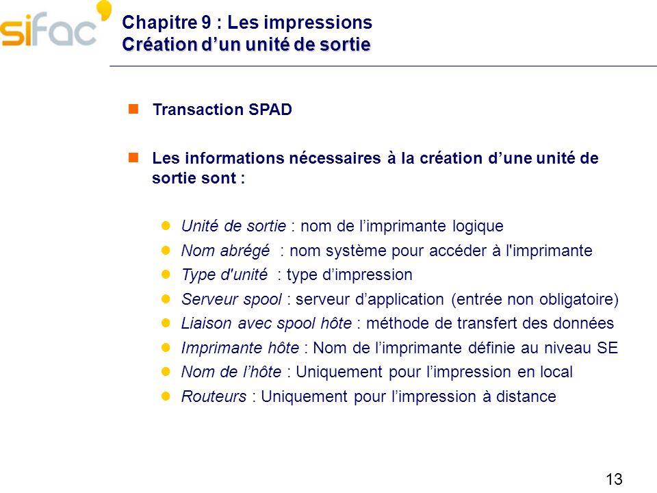 13 Création dun unité de sortie Chapitre 9 : Les impressions Création dun unité de sortie Transaction SPAD Les informations nécessaires à la création