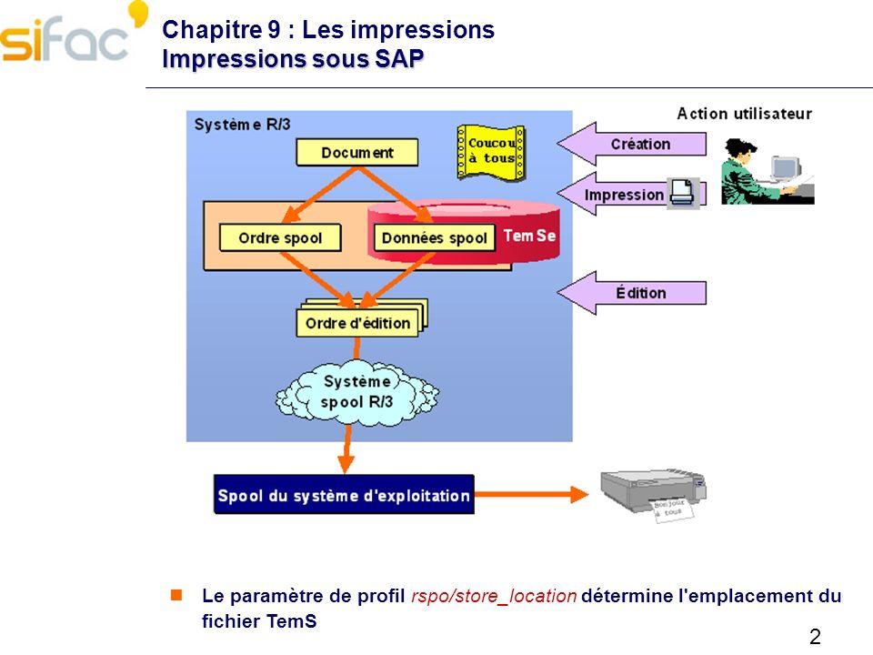 2 Impressions sous SAP Chapitre 9 : Les impressions Impressions sous SAP Le paramètre de profil rspo/store_location détermine l'emplacement du fichier