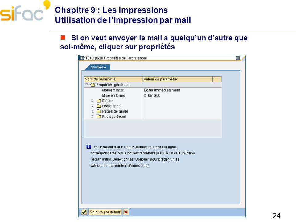 24 Utilisation de limpression par mail Chapitre 9 : Les impressions Utilisation de limpression par mail Si on veut envoyer le mail à quelquun dautre q