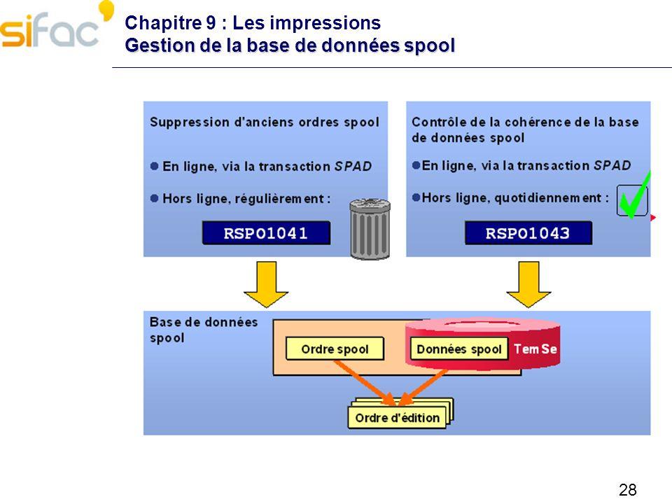 28 Gestion de la base de données spool Chapitre 9 : Les impressions Gestion de la base de données spool