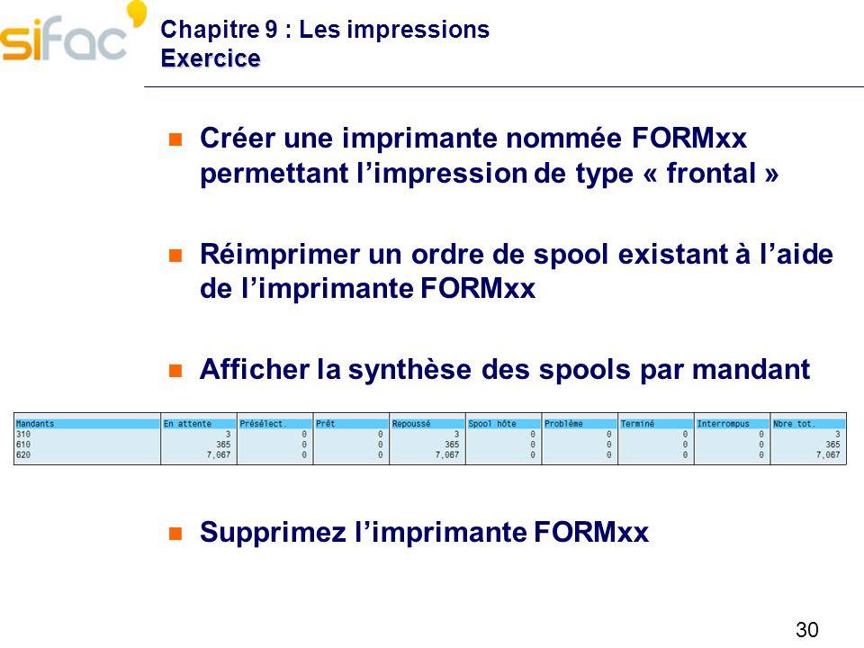 30 Exercice Chapitre 9 : Les impressions Exercice Créer une imprimante nommée FORMxx permettant limpression de type « frontal » Réimprimer un ordre de