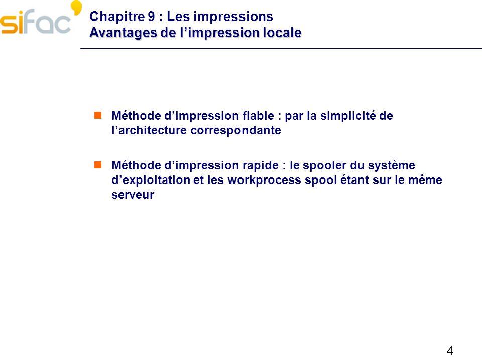 4 Avantages de limpression locale Chapitre 9 : Les impressions Avantages de limpression locale Méthode dimpression fiable : par la simplicité de larch