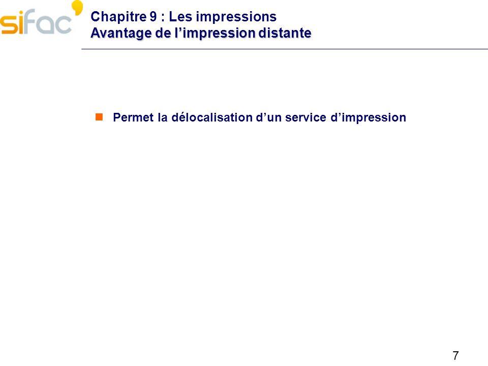 7 Avantage de limpression distante Chapitre 9 : Les impressions Avantage de limpression distante Permet la délocalisation dun service dimpression