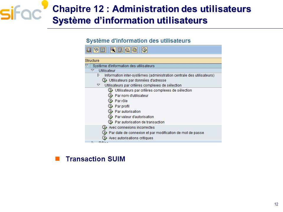 Administration des utilisateurs Système dinformation utilisateurs Chapitre 12 : Administration des utilisateurs Système dinformation utilisateurs Tran