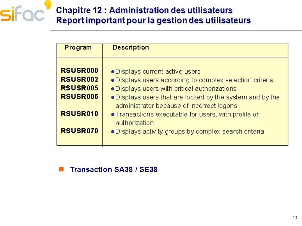 13 Administration des utilisateurs Report important pour la gestion des utilisateurs Chapitre 12 : Administration des utilisateurs Report important po