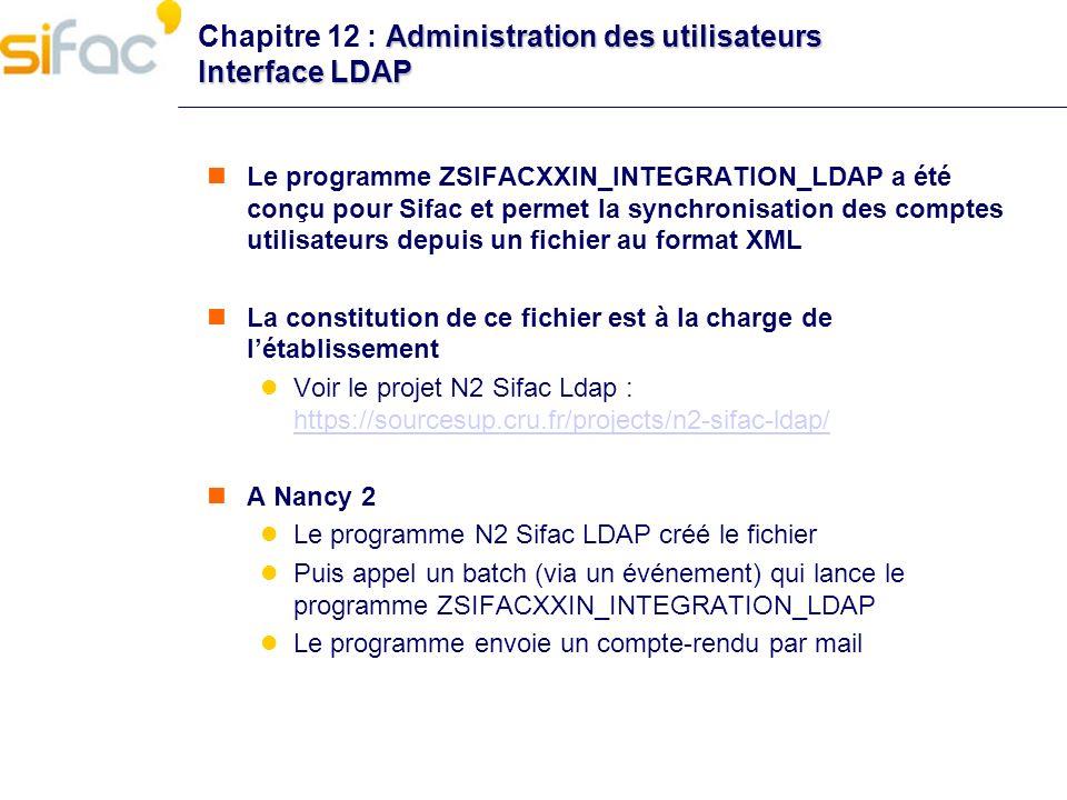 Administration des utilisateurs Interface LDAP Chapitre 12 : Administration des utilisateurs Interface LDAP Le programme ZSIFACXXIN_INTEGRATION_LDAP a