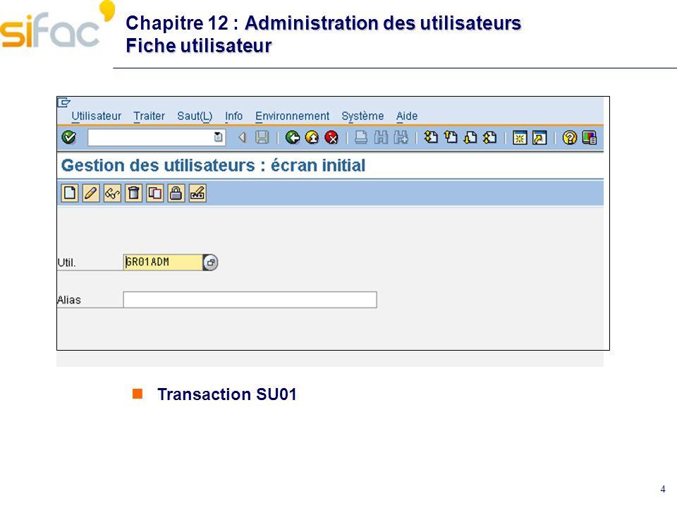 4 Administration des utilisateurs Fiche utilisateur Chapitre 12 : Administration des utilisateurs Fiche utilisateur Transaction SU01
