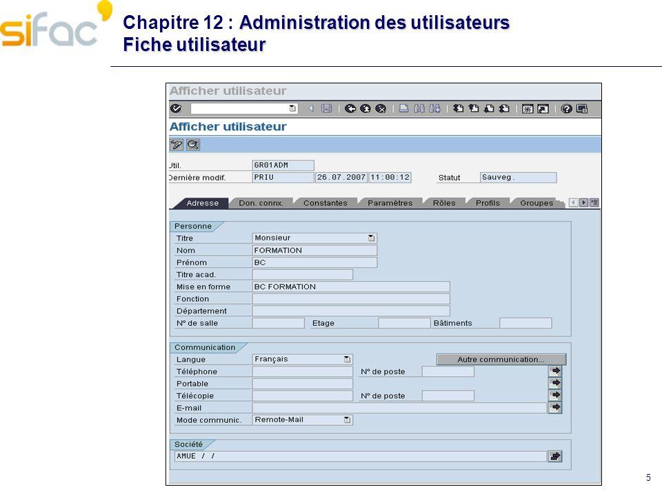 5 Administration des utilisateurs Fiche utilisateur Chapitre 12 : Administration des utilisateurs Fiche utilisateur