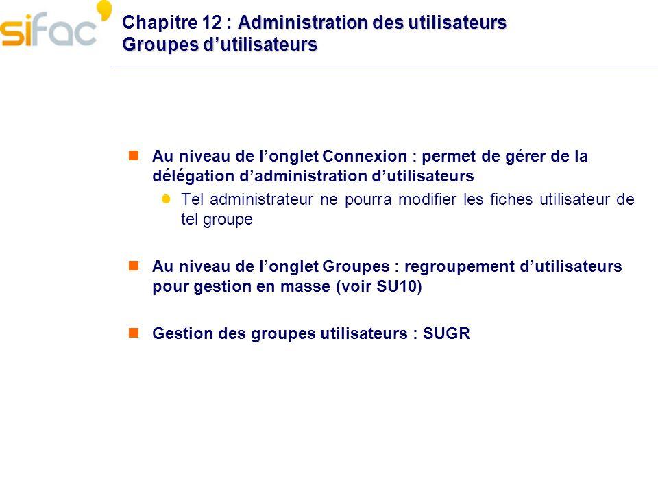 Administration des utilisateurs Groupes dutilisateurs Chapitre 12 : Administration des utilisateurs Groupes dutilisateurs Au niveau de longlet Connexi