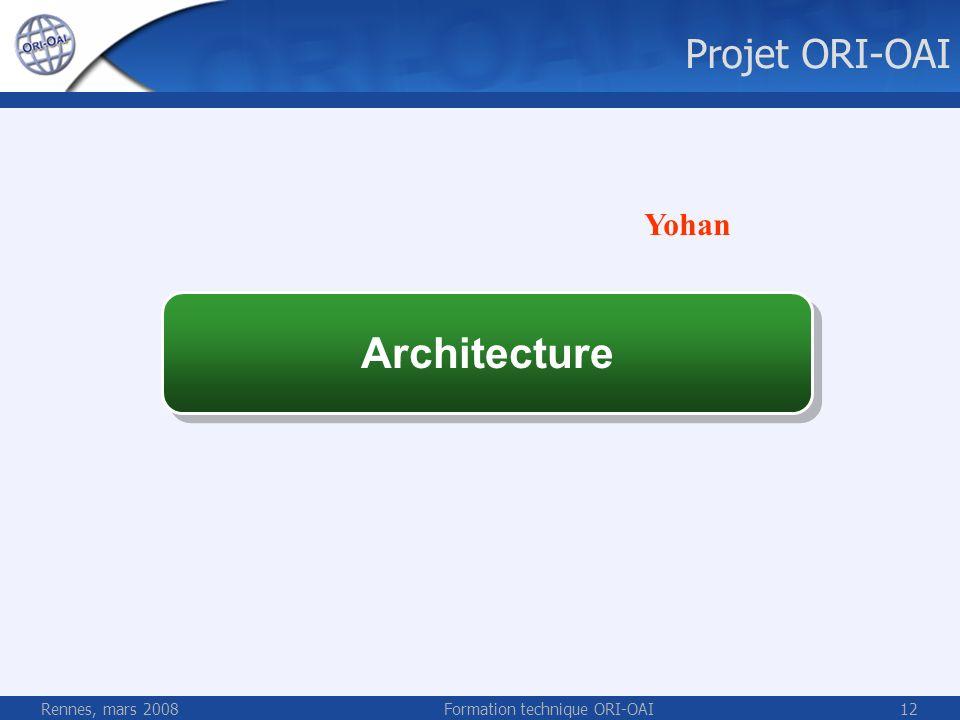 Rennes, mars 2008Formation technique ORI-OAI12 Architecture Projet ORI-OAI Yohan