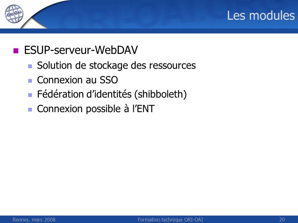 Rennes, mars 2008Formation technique ORI-OAI20 Les modules ESUP-serveur-WebDAV Solution de stockage des ressources Connexion au SSO Fédération didenti