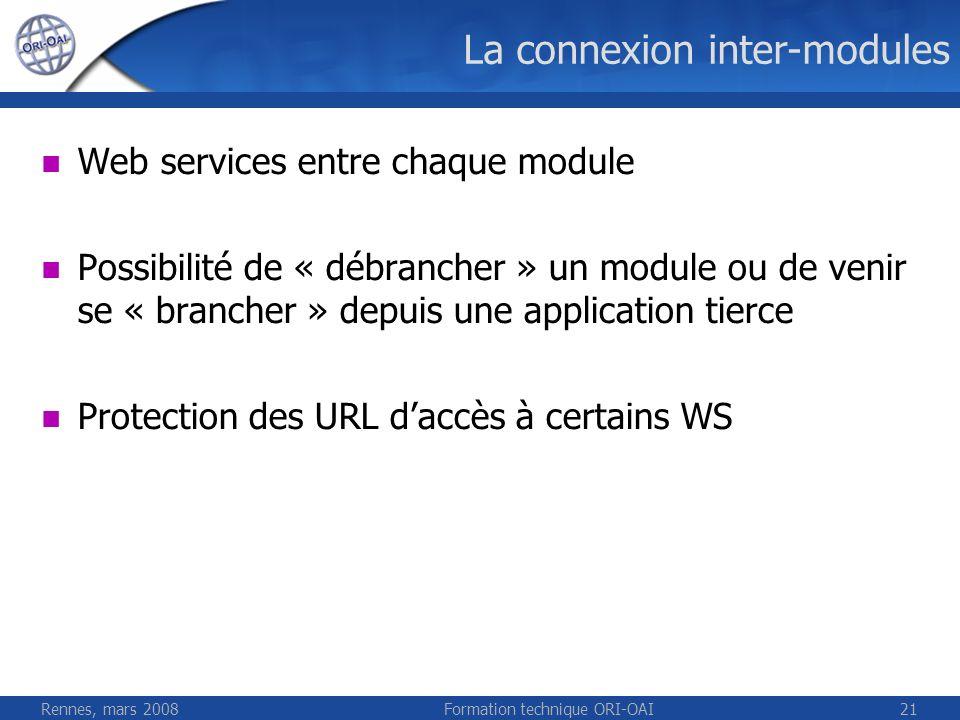 Rennes, mars 2008Formation technique ORI-OAI21 La connexion inter-modules Web services entre chaque module Possibilité de « débrancher » un module ou