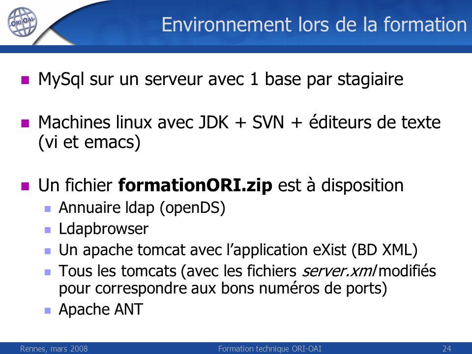 Rennes, mars 2008Formation technique ORI-OAI24 Environnement lors de la formation MySql sur un serveur avec 1 base par stagiaire Machines linux avec J