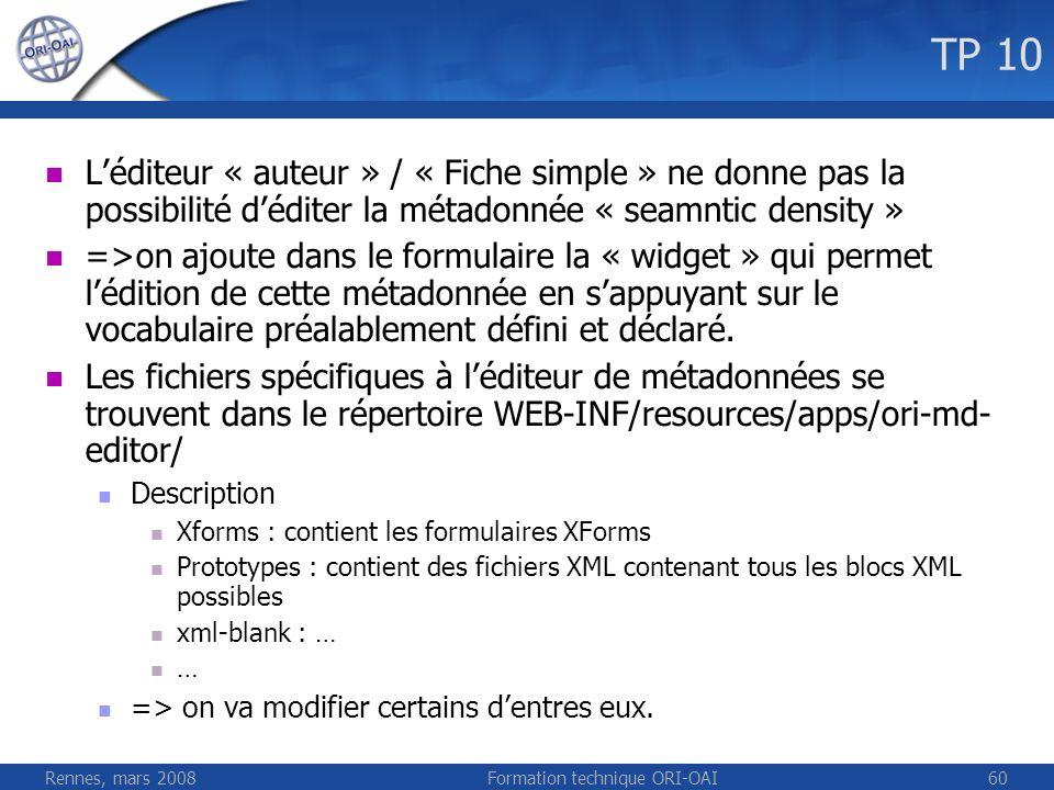 Rennes, mars 2008Formation technique ORI-OAI60 TP 10 Léditeur « auteur » / « Fiche simple » ne donne pas la possibilité déditer la métadonnée « seamnt
