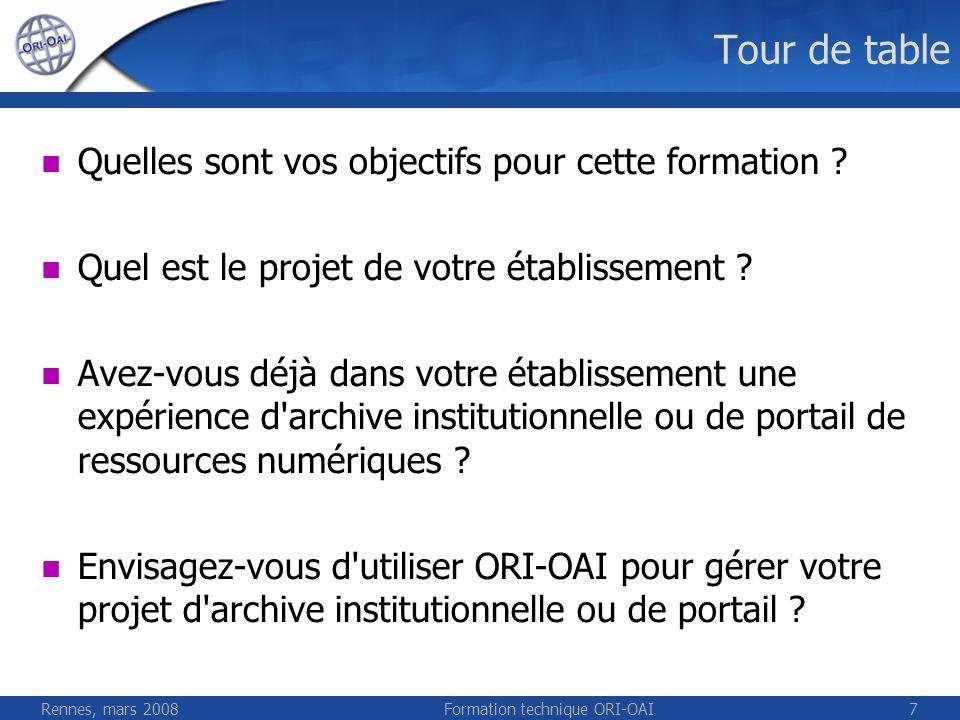 Rennes, mars 2008Formation technique ORI-OAI7 Tour de table Quelles sont vos objectifs pour cette formation ? Quel est le projet de votre établissemen