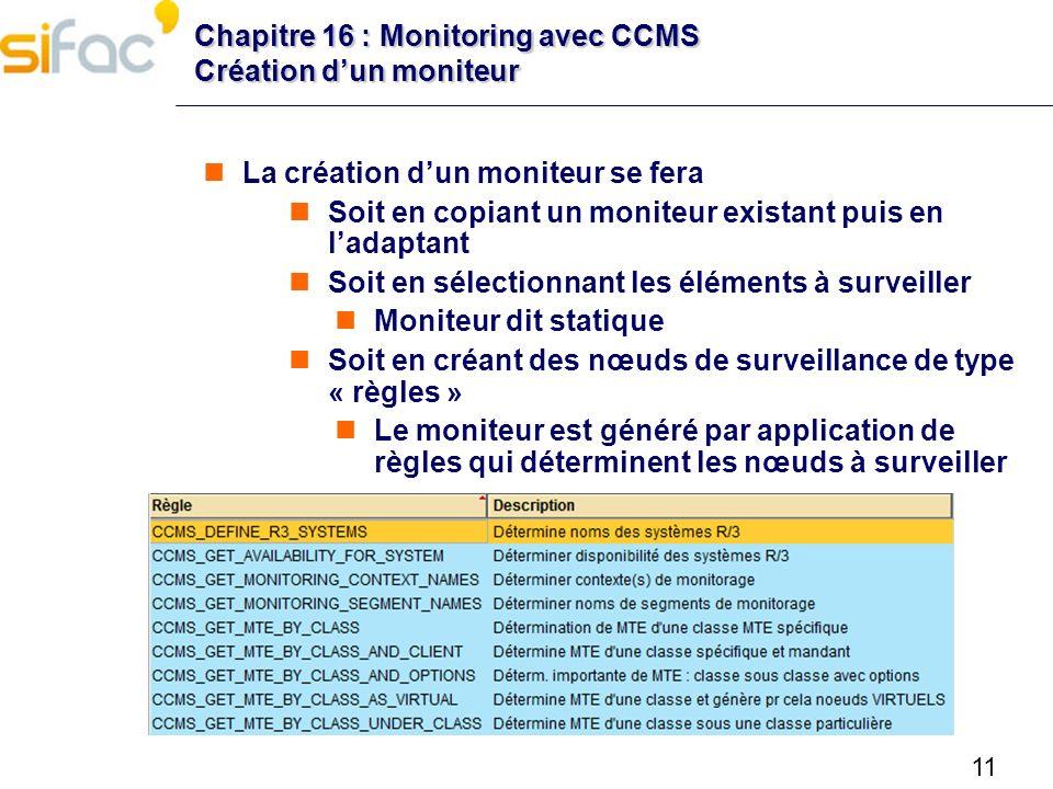 11 Chapitre 16 : Monitoring avec CCMS Création dun moniteur La création dun moniteur se fera Soit en copiant un moniteur existant puis en ladaptant So