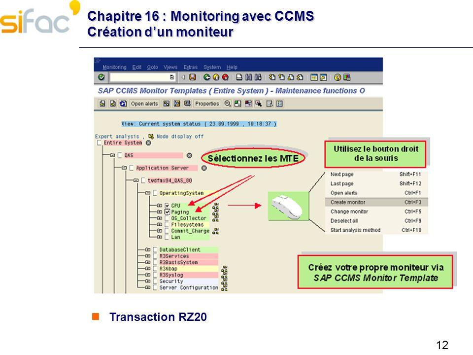 12 Chapitre 16 : Monitoring avec CCMS Création dun moniteur Transaction RZ20