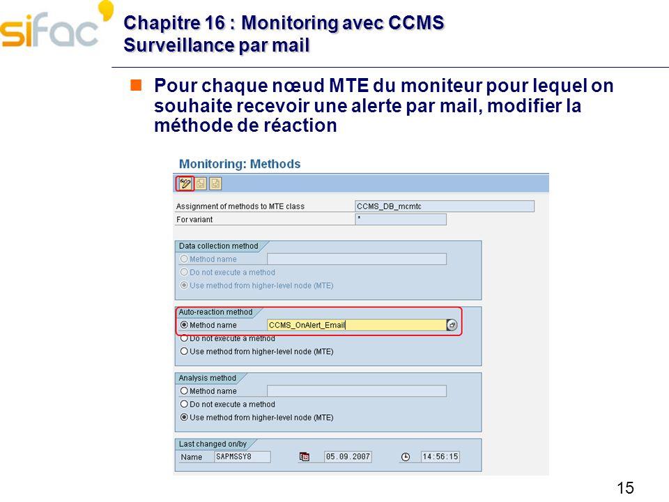 15 Chapitre 16 : Monitoring avec CCMS Surveillance par mail Pour chaque nœud MTE du moniteur pour lequel on souhaite recevoir une alerte par mail, mod