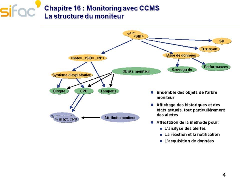 15 Chapitre 16 : Monitoring avec CCMS Surveillance par mail Pour chaque nœud MTE du moniteur pour lequel on souhaite recevoir une alerte par mail, modifier la méthode de réaction