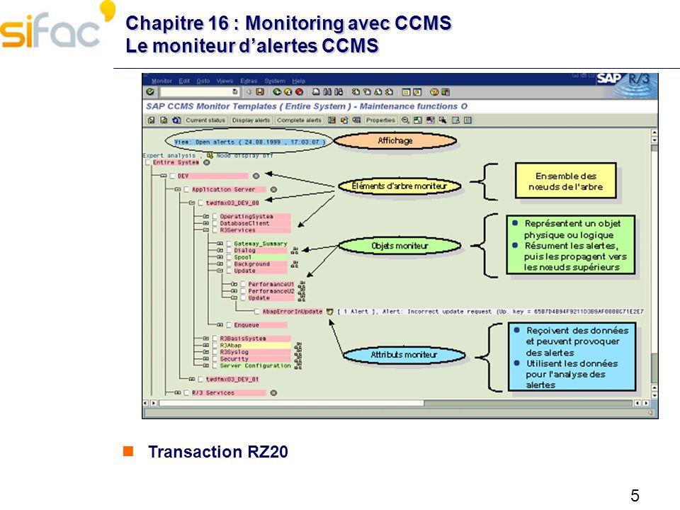 16 Chapitre 16 : Monitoring avec CCMS Autres outils de monitoring Nagios – Surveillance du système – Surveillance des process – Surveillance des bases Oracle – En cours : surveillance portail SAP – En cours : surveillance client léger SAP Early Watch – Nécessite SAP Router