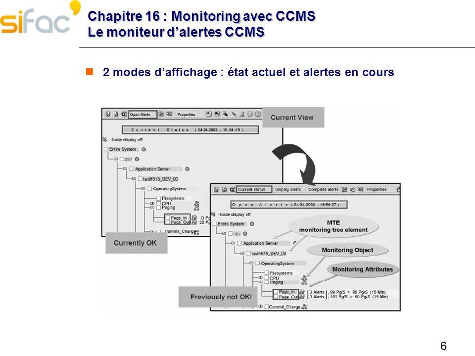 6 Chapitre 16 : Monitoring avec CCMS Le moniteur dalertes CCMS 2 modes daffichage : état actuel et alertes en cours