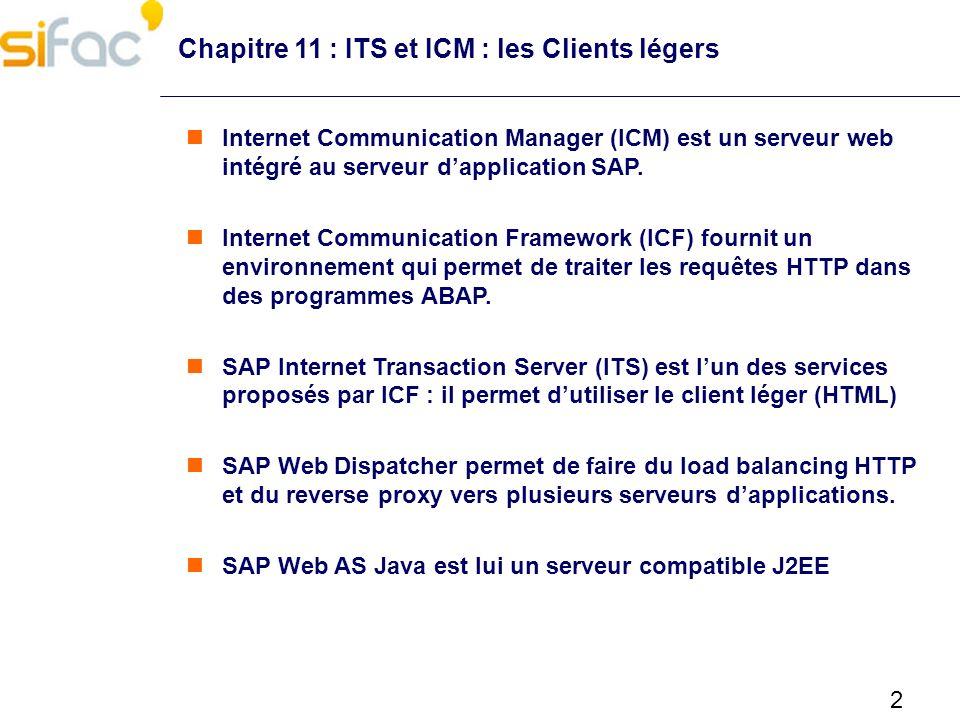 3 Chapitre 11 : ITS et ICM : les Clients légers ICM est interne au WAS et activé par défaut SAP délivre ICM depuis la version SAP 4.7.