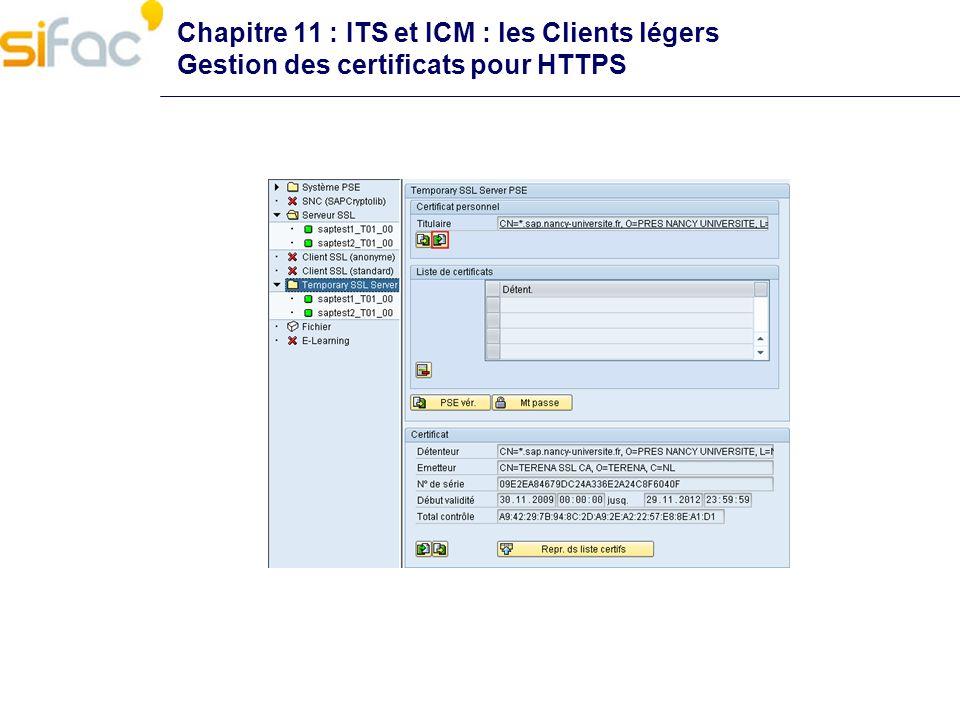 Chapitre 11 : ITS et ICM : les Clients légers Envoi de mails depuis SAP Il est possible de configurer SAP pour pouvoir envoyer des mails depuis la CCMS, des batchs ou depuis des programmes Etapes de mise en œuvre Modification du profil dinstance Activation du service SMTP dans SMICM Configuration de la passerelle SMTP sur tous les mandants Activation du service SAPConnect (Tx SCOT) Tests de bon fonctionnement Programmation du batch denvoi automatique des mails Nettoyage automatisé des logs du batch Voir la documentation AMUE Il est aussi possible dimprimer sur une imprimante virtuelle de type « mail »!