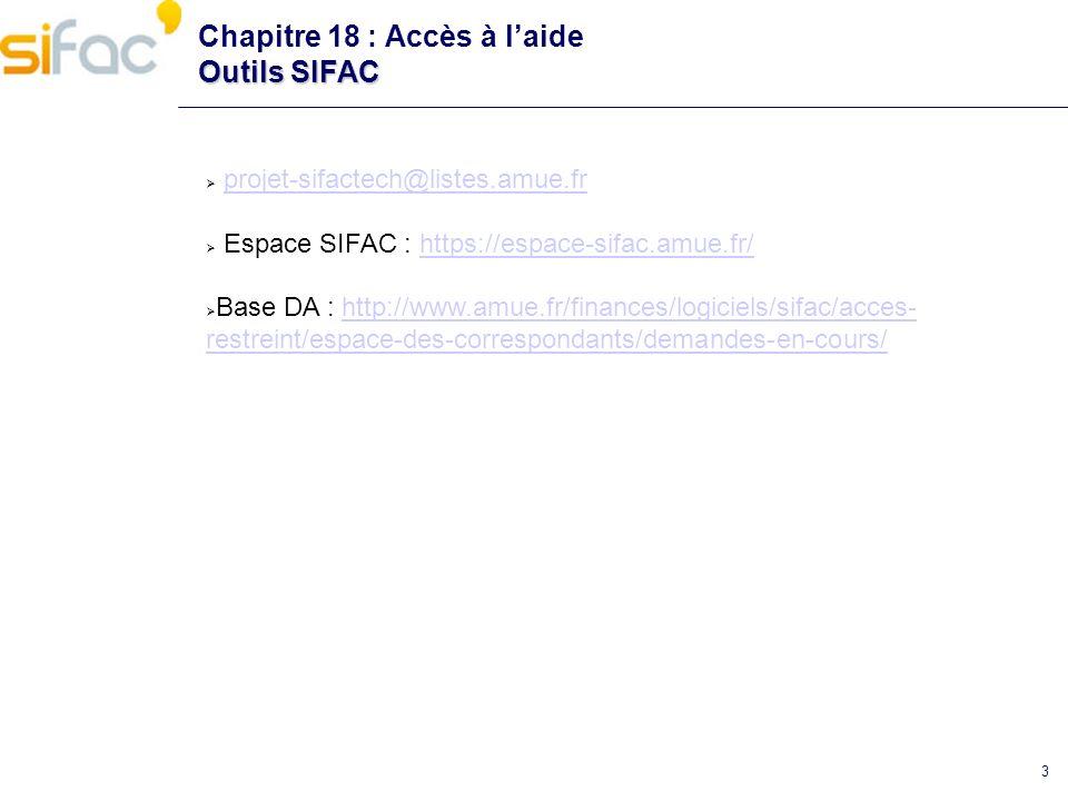 3 Outils SIFAC Chapitre 18 : Accès à laide Outils SIFAC projet-sifactech@listes.amue.fr Espace SIFAC : https://espace-sifac.amue.fr/https://espace-sif
