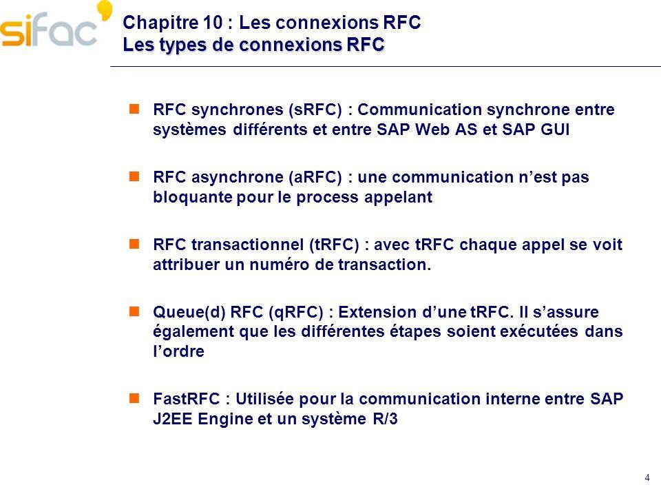 4 Les types de connexions RFC Chapitre 10 : Les connexions RFC Les types de connexions RFC RFC synchrones (sRFC) : Communication synchrone entre systè