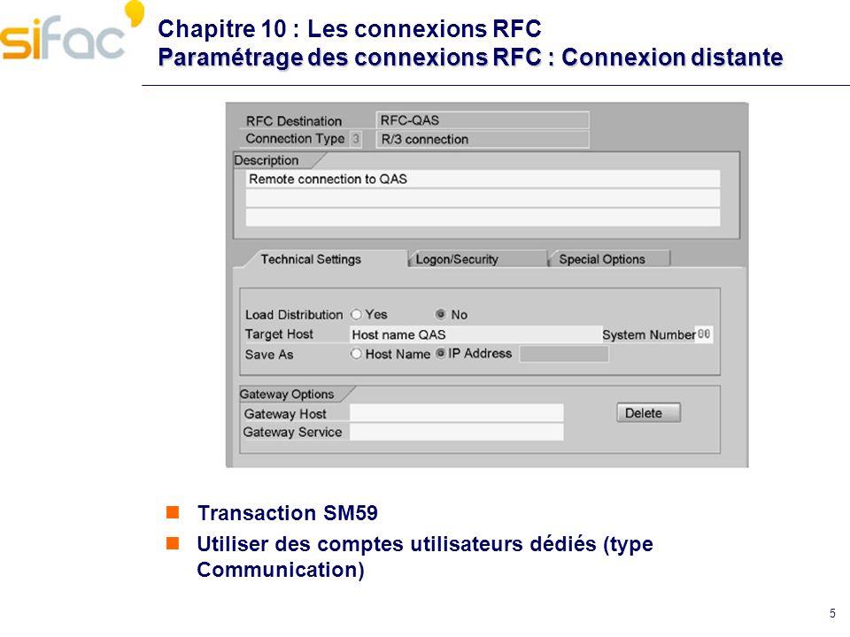 5 Paramétrage des connexions RFC : Connexion distante Chapitre 10 : Les connexions RFC Paramétrage des connexions RFC : Connexion distante Transaction