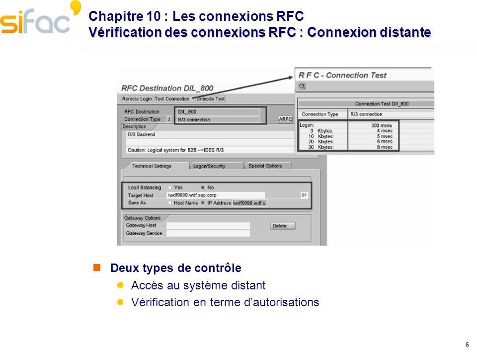 6 Vérification des connexions RFC : Connexion distante Chapitre 10 : Les connexions RFC Vérification des connexions RFC : Connexion distante Deux type